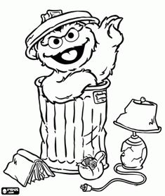 Oscar the Grouch coloring page and many other characters from Sesame Street