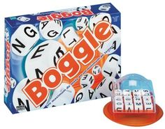 Boggle by Hasbro, http://www.amazon.co.uk/dp/B00005N5OY/ref=cm_sw_r_pi_dp_feWxsb1M7V03W. This is another family favourite - one great advantage of this game is it never goes on for too long - the aim of the game is to make as many words as you can before the time runs out!