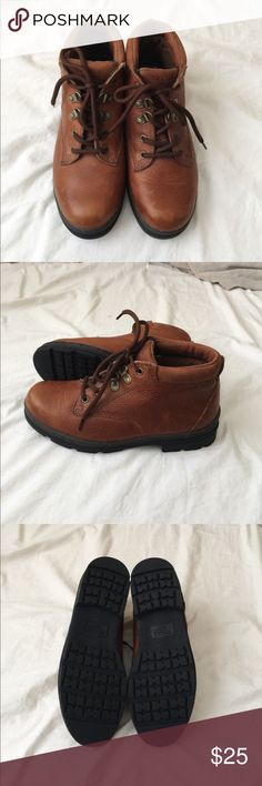 Leather Hiking Boots Trader Bay leather hiking boots. These are like new! The rubber soles are in perfect condition and the leather part of the boots just have a couple light scratches on the toes but that's it!! These guys were never even worn outdoors :) Size 7 and fit true to size.. Shoes