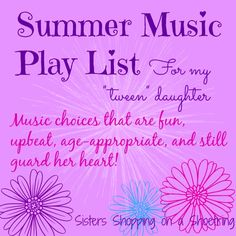 Summer music playlist for tween girls! Sisters Shopping on a Shoestring