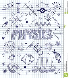 Illustration about Vector illustration of handwritten Physics set. Illustration of cartoon, balance, discipline - 49318563 School Binder Covers, School Book Covers, School Notebooks, Sketch Notes, Notebook Covers, School Notes, Bullet Journal Inspiration, Cover Pages, Doodle Art