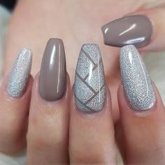 Silver Glitter and Nude Coffin Nails