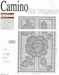 crochet home: Table Runner- fillet crochet Filet Crochet Charts, Crochet Motif, Crochet Doilies, Crochet Sunflower, Pineapple Crochet, Fillet Crochet, Crochet Table Runner, Floral Border, Doilies Crochet