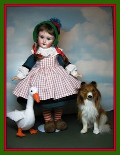 My Vintage Rosette, Bleuette's sister in her Becassine Enfant costume and her Silly Goose