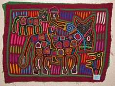 Molas of Panama. textile. transfer into painting lesson.