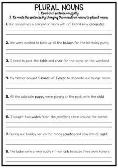 This reading and grammar pack will provide your students with plenty of opportunities to practice their reading and their grammar. Many of the activities require students to re-write the sentences using the correct grammar focus, meaning they are practicing a their handwriting, their punctuation and their spelling.  grammar reading writing punctuation spelling teaching classroom learning no prep printable worksheet activity plural nouns