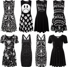 Occult goth dresses. I love all of these except the two in the middle at the bottom