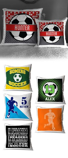 Add soccer flair to your favorite room in your house! Available in custom and personalized options, these throw pillows are the perfect addition to your bed, couch, loveseat, or patio! Soccer Room Decor, Soccer Theme, Bed Couch, Room Signs, Decorative Throw Pillows, Love Seat, Advertising, Patio, House