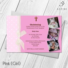 personalised christening baptism invitations with photo boy girl