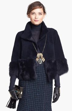 Tory Burch 'Charla' Reversible Genuine Shearling Crop Jacket available at #Nordstrom