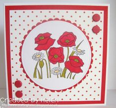 Using the 'Poppies' stamp Claire, Cardmaking, Poppies, Birthday Cards, Stamps, Handmade, Ideas, Design, Bday Cards