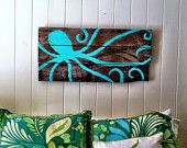 Painted Octopus on Reclaimed Wood
