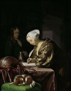 De briefschrijfster, Frans van Mieris (I), 1680. oil on panel.
