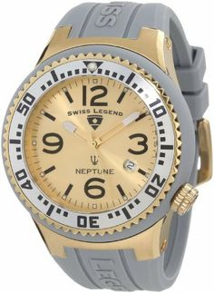 Swiss Legend Men's 21848P-YG-02-S Neptune Gold Dial Grey Silicone Watch Swiss Legend. Save 85 Off!. $59.99. Gold dial with gold tone and white hands, black hour markers and arabic numerals; luminous; unidirectional gold ion-plated stainless steel bezel with silver tone ring and black arabic numerals; screw-down crown. Swiss quartz movement. Date function at 4:00. Mineral crystal with sapphire coating; gold ion-plated stainless steel case with grey silicone cover and strap. Water-resistant…