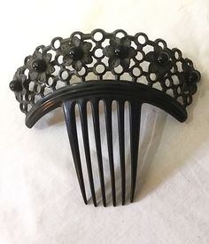 Vintage Art Deco Victorian Carved Celluloid Hair Comb Mantilla w/ Beads Antique