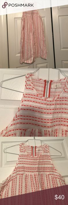 The Loft Dress: orange and white size medium Orange and white with zipper on the back..only worn once Lou & Grey Dresses
