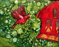 Alcohol ink cardinal painted by me, Laurie Henry!