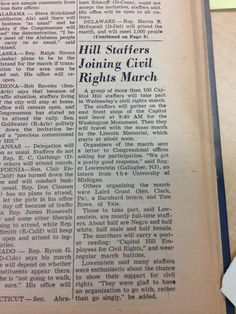 A group of more than 100 Capitol Hill staffers will take part in Wednesday's civil rights march. ... Organizers of the march sent a letter to Congressional offices asking for participation.   Roll Call, Aug. 28, 1963 #mow50 #marchonwashington #civilrights
