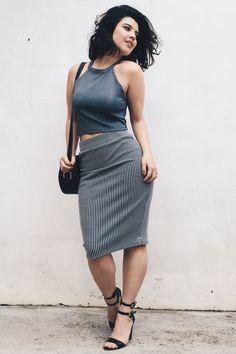 Debora Alcantara in graphite halter crop top, raven locks, B&W striped waisted pencil skirt, black wedges