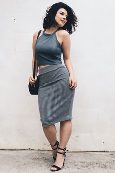 Debora Alcantara in graphite halter crop top, raven locks, B&W striped waisted pencil skirt, black wedges
