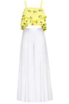 Ruhmahsa presents Yellow floral motifs crop top and white palazzo pants set available only at Pernia's Pop Up Shop. Indian Bridal Fashion, Indian Fashion Dresses, Indian Designer Outfits, Girls Fashion Clothes, Indian Outfits, Fashion Pants, Fashion Outfits, Clothes For Women, Stylish Dresses