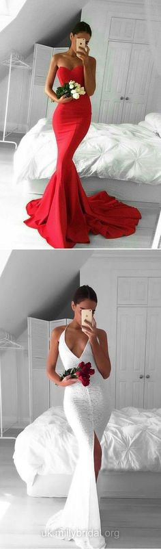 Red Prom Dresses Mermaid, Long Party Dresses 2018, Sexy Formal Dresses Sweetheart, Silk-like Satin Ruffles Evening Gowns Backless