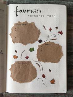monthly favorites Bullet Journal 2018, Autumn Bullet Journal, Bullet Journal Books, Bullet Journal Inspo, Bullet Journal Spread, Bullet Journal Layout, Bullet Journal Ideas Pages, Tumblr Flower, Scrapbook Journal