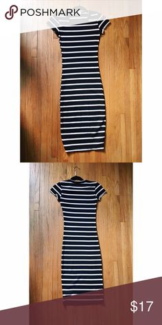 Striped Tea Length Body Con Dress New without tags! Purchased from Goldmorning Shop. Perfect condition. Hits just below the knees. Would best fit an XS or S. the Hanger Dresses Midi