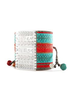 Silver plated large Roman design, hand woven multi-tone glass beading, nickel free, eco-friendly