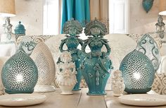 Inexpensive, elegant and versatile, pottery is a worthwhile addition to your home, and you should definitely consider getting some for your interior design project. Pottery is used to decorate diff… Make Your Own Pottery, Colored Vases, Modern Ceramics, Ceramic Design, Vases Decor, Home And Living, Decorating Your Home, Floor Lamp, Interior Design