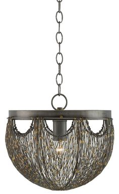 "Currey and Company 9000-0017 Eduardo Single Light 13"" Wide Pendant with Black Me Natural Iron and Brass Indoor Lighting Pendants"