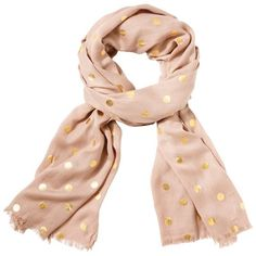 Gold Dot Scarf Beige (120 RON) ❤ liked on Polyvore featuring accessories, scarves, gold shawl, gold scarves, fringe scarves, fringe shawl and patterned scarves