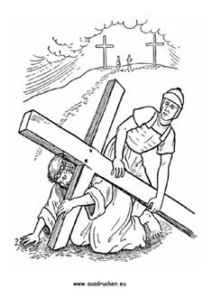 Easter Bible Coloring Pages Simon Carries Jesuss Cross Church And Sunday School
