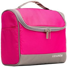 Hanging Travel Toiletry Bag or Cosmetics Makeup Case Shaving Kit Electronics Organizer Hot Pink -- Click on the image for additional details.