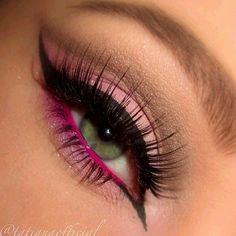 Shades Of Pink Eye Make Up- could try with purple Pink Eyeliner, Pink Eye Makeup, Makeup Eye Looks, Eye Makeup Art, Cute Makeup, Eyeshadow Makeup, Eyeliner Waterline, Makeup Eyes, Makeup Trends
