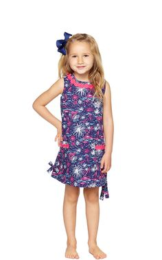 Little Lilly Classic Shift Dress in Bright Navy Sparks Fly Glow
