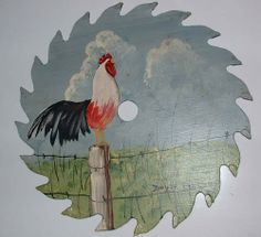 hand painted rooster on real sawblade