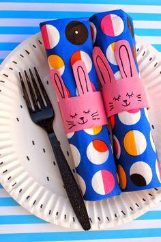 Turn toilet rolls into napkin bunny rings- fun Easter craft!