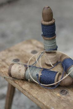 Coloured twine trio: a vintage bobbin wrapped with 15m of coloured twine in blue, sage green and natural