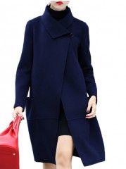 Single Breasted Graceful Asymmetric Neckline Overcoats