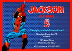 Spiderman Invitation Spiderman Birthday by PrettyPaperPixels