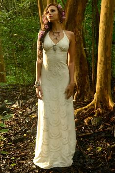 Tamara Catz Bridal Peacock Feather Gown $975 Silk satin with embroidery Luxurious Beach Bohemian wedding gown