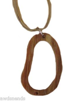 Women's Brown Wood Grain Design Pendant with Brown Necklace Fashion Jewelry 12""