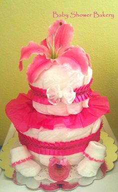 Custom designed pink Lily Diaper Cake for new baby girl, Lily! :) #Etsy #diaper #cake #baby #shower