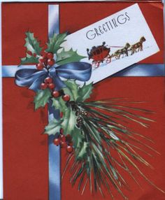 Vintage-Christmas-Card-Gift-with-Greenery-and-Tag