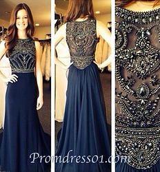 Dark blue beaded long prom dress, evening dress #promdress #homecoming