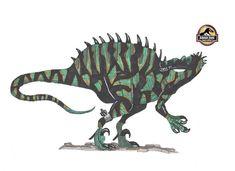 Suchoraptor Lenght: 18 m/ 59 feet Height: 20 feet Weight: 5 tons Mix between: Spinosaurus,Suchosaurus,Baryonyx,Suchomimus and Velociraptor Jurassic Park Poster, Jurassic Park World, Science Fiction Games, Hybrid Art, Dinosaur Pictures, Spinosaurus, Dinosaur Art, Prehistoric Creatures, Animal Games