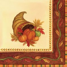 C.R. Gibson Decorated 3-Ply Paper Napkins, Dinner Size, 20-Pack, Harvest Blessings by C.R. Gibson. $6.50. Look for coordinating dinner and luncheon napkins and plates. Pack-20 premium dinner size napkins, 8.75-inch square when folded. Since 1870 families have trusted c.r. gibson to make special occasions memorable and fun. 3-Ply paper is strong and soft, printed with safe non-bleed ink. Thanksgiving cornucopia filled with pumpkins is a true american classic, brought to yo...