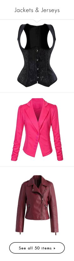 """Jackets & Jerseys"" by angelique-vandyk ❤ liked on Polyvore featuring outerwear, vests, vest waistcoat, lace up vest, paisley vest, jackets, blazers, pink blazer, lapel blazer and 1 button blazer"