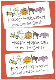 Personalized Halloween Stickers www.doodlebugspaper.com $10
